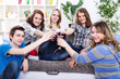 Group of teenagers on private party