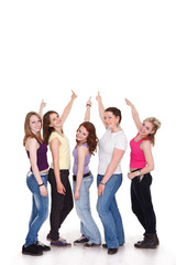 Group of girls pointing to copy