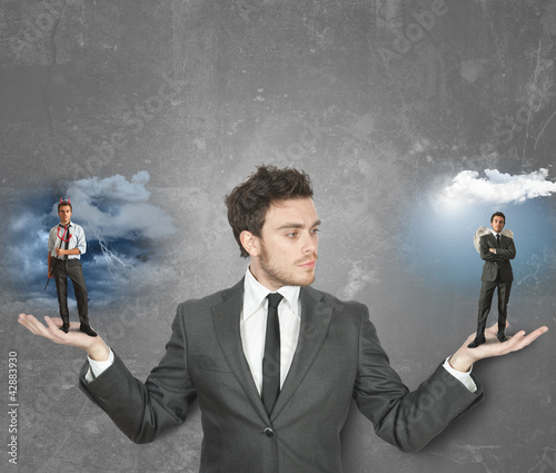 canvas print picture Businessman with devil or angel