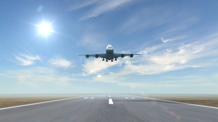 airplane landing against a sky background