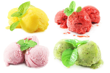 various ice cream - strawberry, kiwi, lemon, raspberry