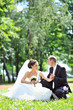 Bride and groom sitting in a park - vertical copyspace image