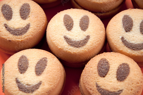 Close-up of smiling cookies, studio shot