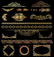 Gold calligraphic design elements