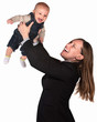 Professional Woman Lifts Her Baby