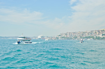 Cruise ferry sails to Asia in Bosporus