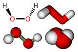Hydrogen peroxide (H2O2) structural formula and molecular models poster