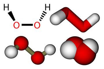 Hydrogen peroxide (H2O2) structural formula and molecular models