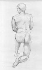 Human figure of a naked man from back, charcoal sketch