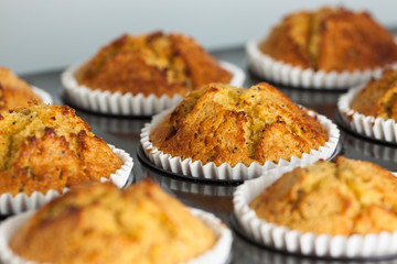 Delicious fresh homemade banana muffins in a baking tray