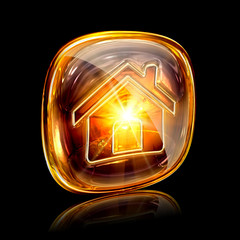 House icon amber, isolated on black background