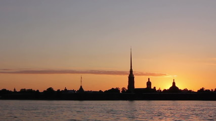 St. Petersburg, Peter and Paul Fortress Silhouette at sunset