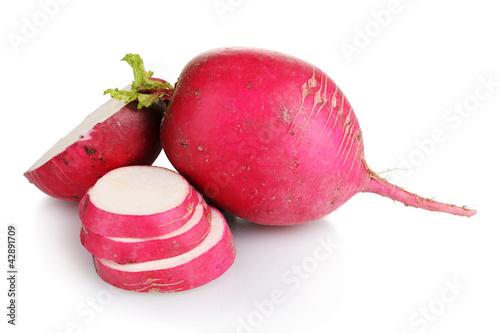 Fresh slised and whole radish isolated on white