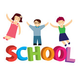 vector illustration schoolchildren poster