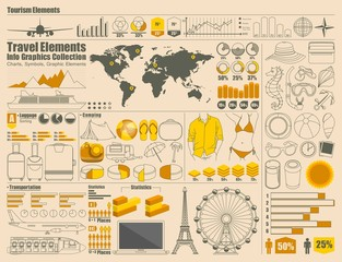 Travel and Holiday icons, vector info graphics
