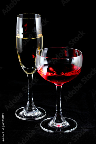 Red wine and champagne