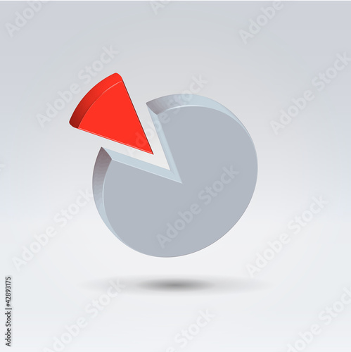 Red and gray pie chart two piece