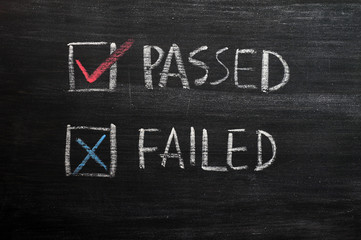 Check boxes for passed and failed