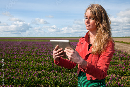 Dutch girl with tablet PC