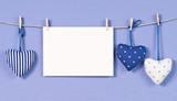 Blaue Herzen mit Karte - Blue Hearts with Card