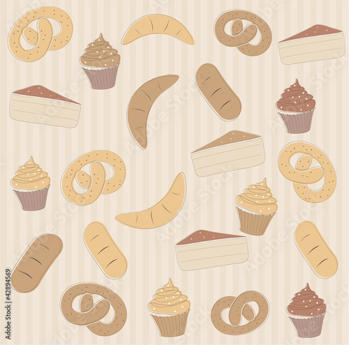 Seamless pattern with cupcakes and other sweet food