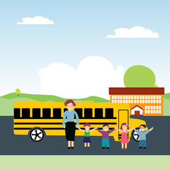 vector illustration schoolchildren and school bus