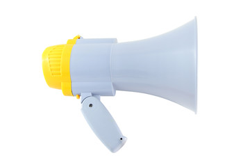 Side of yellow and gray megaphone on white background.