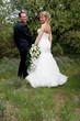 jeunes mariés dans la nature