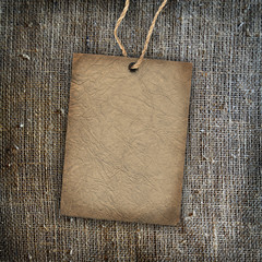 Background texture vintage burlap with label