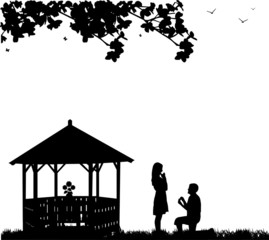 Romantic proposal in park next to the arbor or summer house