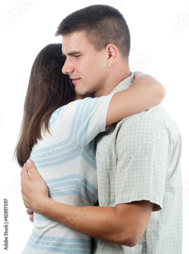 Man consoling his girlfriend isolated on white