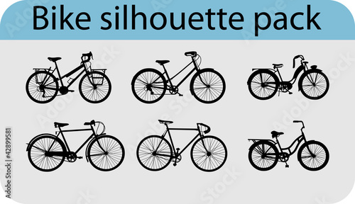 Vector pack with six various bike silhouettes