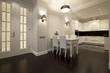 Interior of designer living room with kitchen