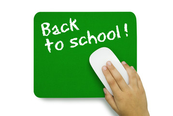 Back to school. Mousepad. Hand