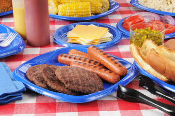 Summer picnic table loaded with food