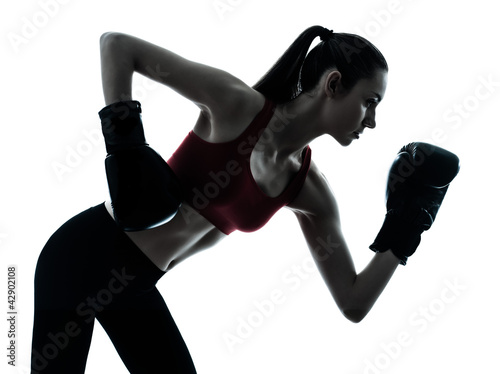 beautiful woman exercising boxe