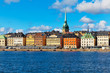 Scenery of the Old Town (Gamla Stan) pier in Stockholm, Sweden