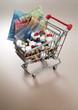 Einkaufswagen, Geld, Medikamente