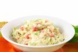 Summer Coleslaw Salad In A White Bowl