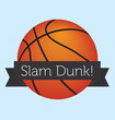 Vector Basketball with Slam Dunk Banner