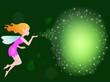 Beautiful love fairy sanding blowing magic spell
