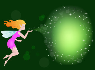 Beautiful love fairy sanding blowing magic spell