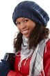 Winter portrait of cheerful afro woman