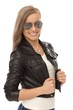 Trendy girl in leather jacket and sunglasses