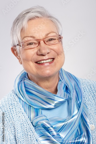 Portrait of elderly lady smiling