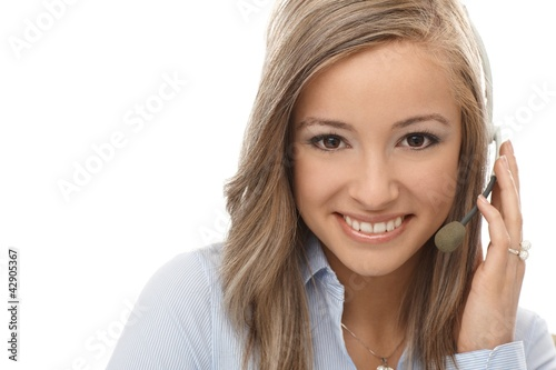 Closeup portrait of happy dispatcher