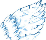 The hand drawn bird's blue wing