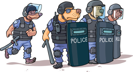 The cartoon dogs in the police uniform.