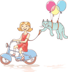 The girl is riding the bicycle with the cat.