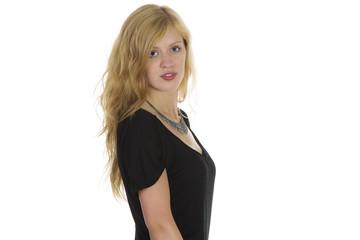 Junge Frau mit schwarzen Oberteil